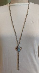 WHBM long silver necklace